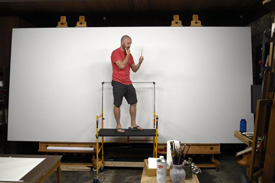 Bryan about to begin work on his massive commission piece . . . . might need to get some bigger brushes.