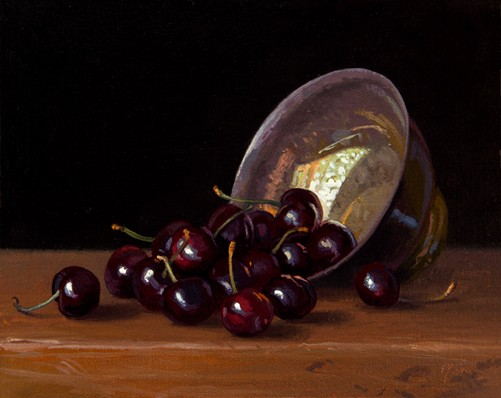 Still Life with Cherries and Silver Bowl, by Abbey Ryan
