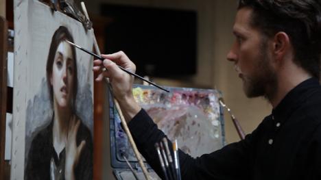Joshua LaRock painting Laura in Black