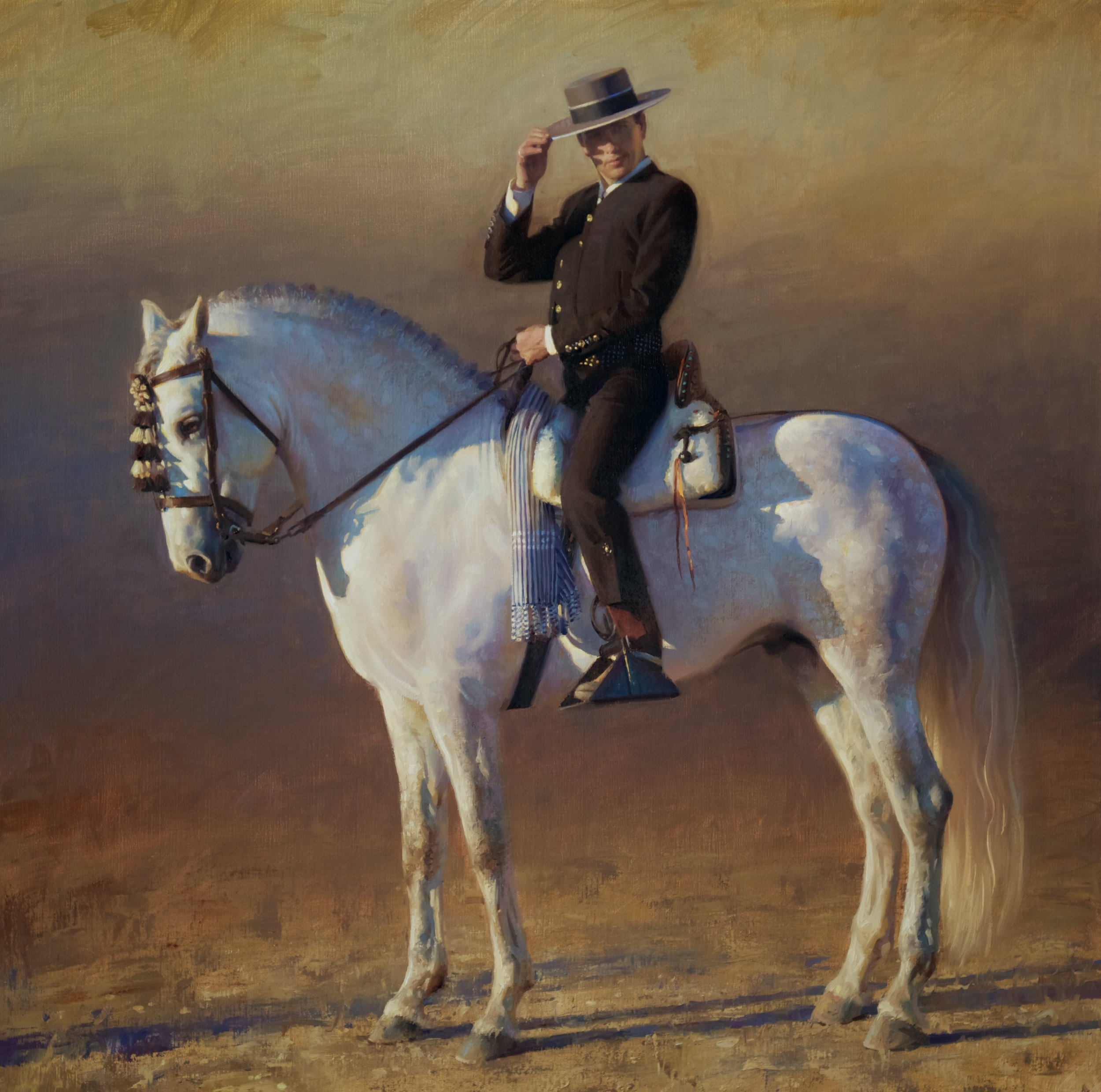 The Andalusian Horseman, 36 x 36, by James Tennison