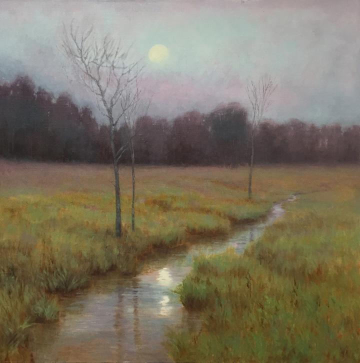 Spring Moonrise, 24x24, by Deborah Paris