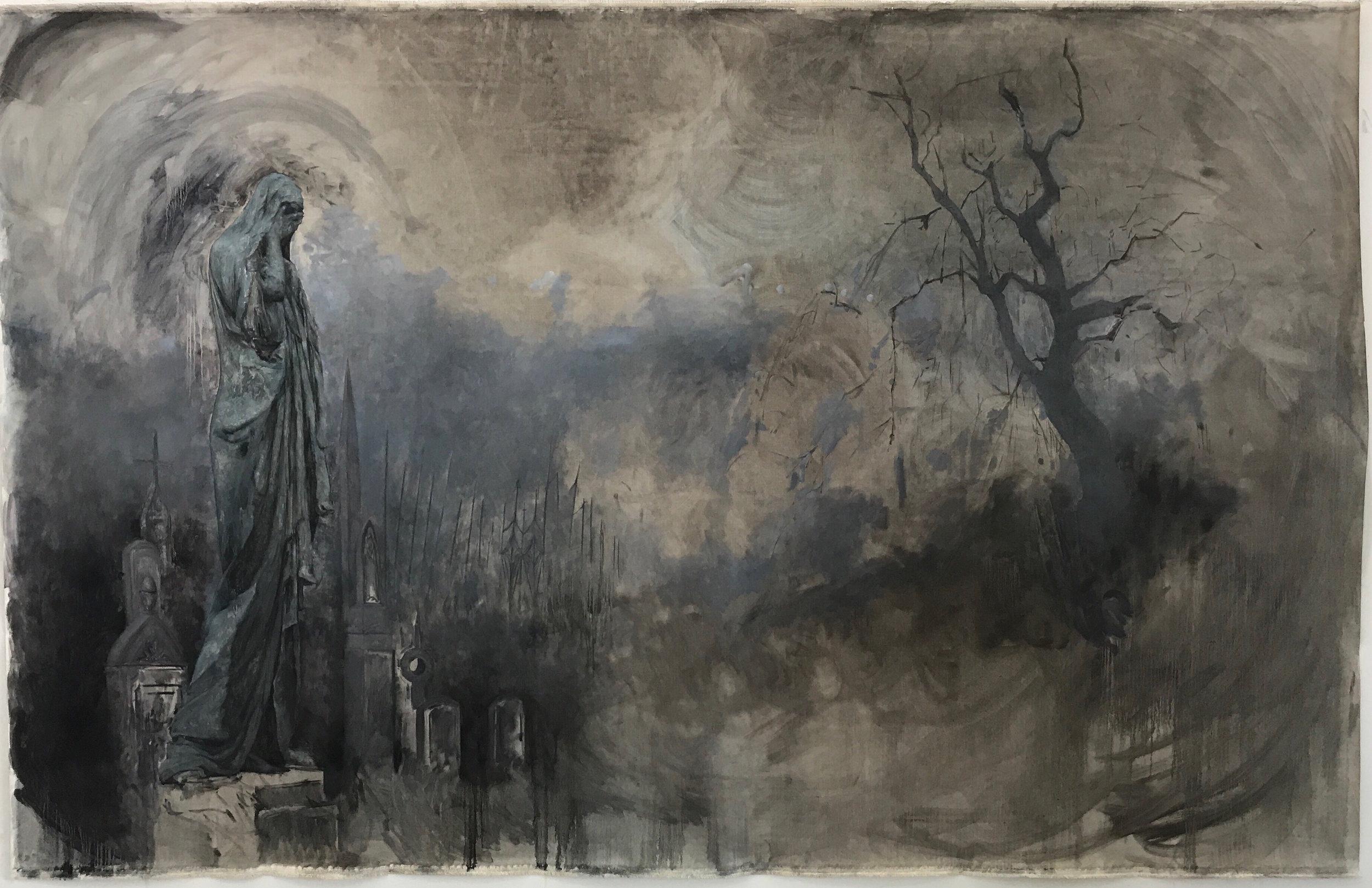 Frankenstein Konfidential, Chapter 1, In the Cemetery, 84 x 140, 2018 (Still in progress)