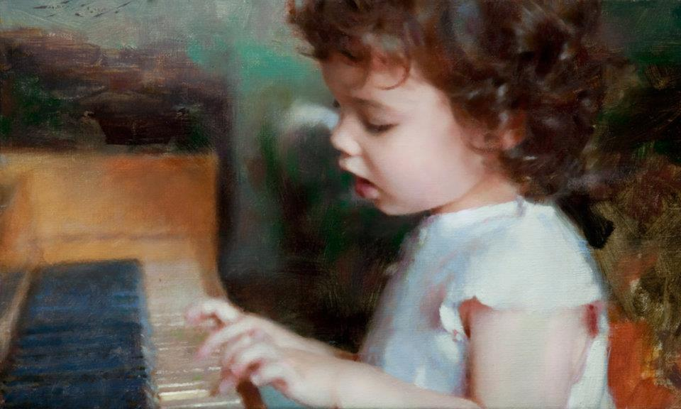 Composing, 12 x 20, oil by Casey Baugh