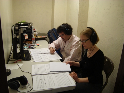 During the recording of my Viola Concerto. Engineer - Adam Abeshouse
