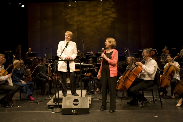 "Marin Alsop and Margaret Brouwer speaking before the performance of ""Pulse"" at Cabrillo Festival"