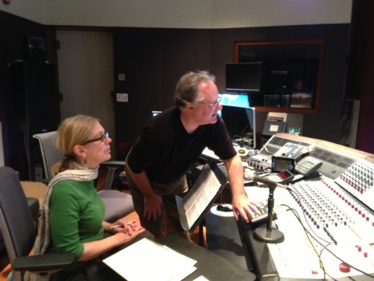 "In the control room with Thomas Knab during the recording of my chamber CD, ""Shattered"""