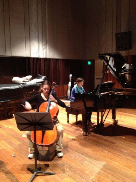 "Maaike Harding and Shuai Wang recording ""Shattered"" in Clonick Hall, Oberlin"