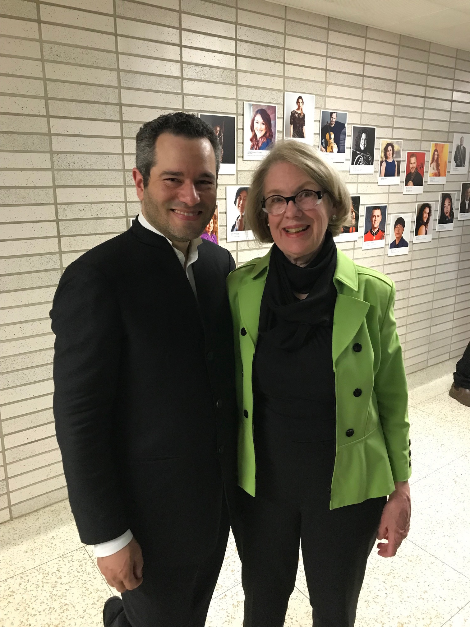 "with Andrew Grams after a March 2019 performance of ""Remembrances"" at CIM"