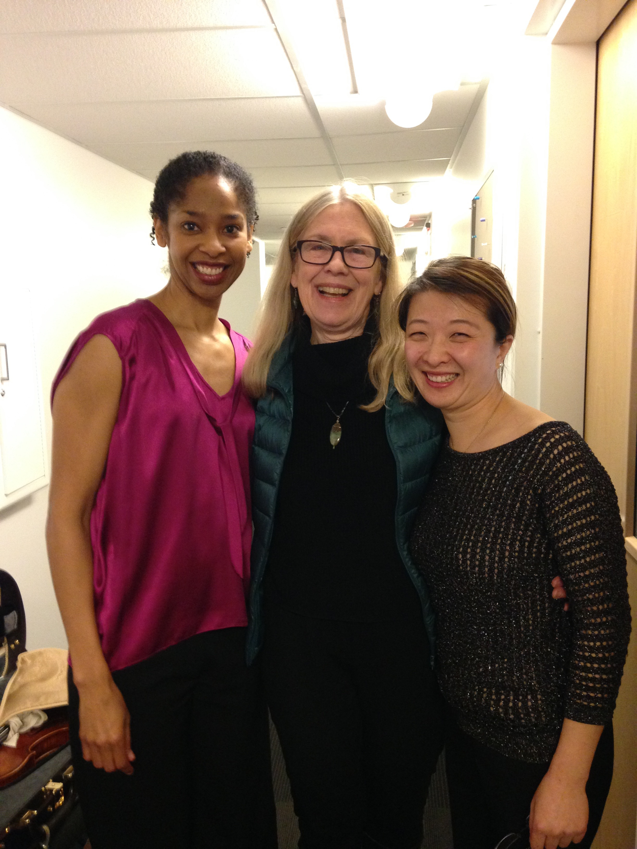 "Eliesha Nelson (viola), Brouwer, and Shuai Wang after the premiere of ""Rhapsodic Sonata"""