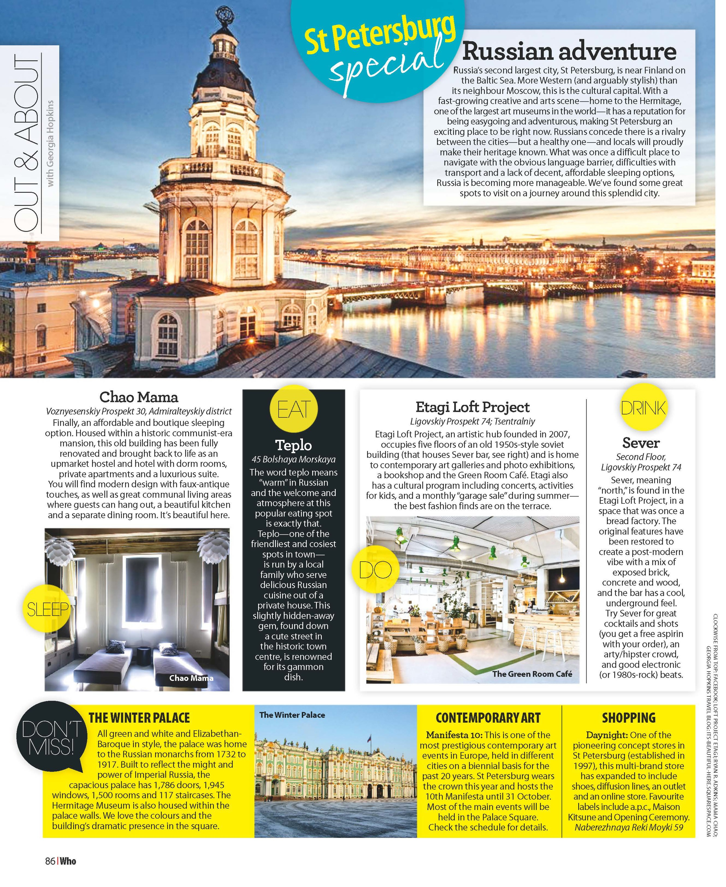 WHO Magazine Australia | Out&About - St Petersburg | September 2014.