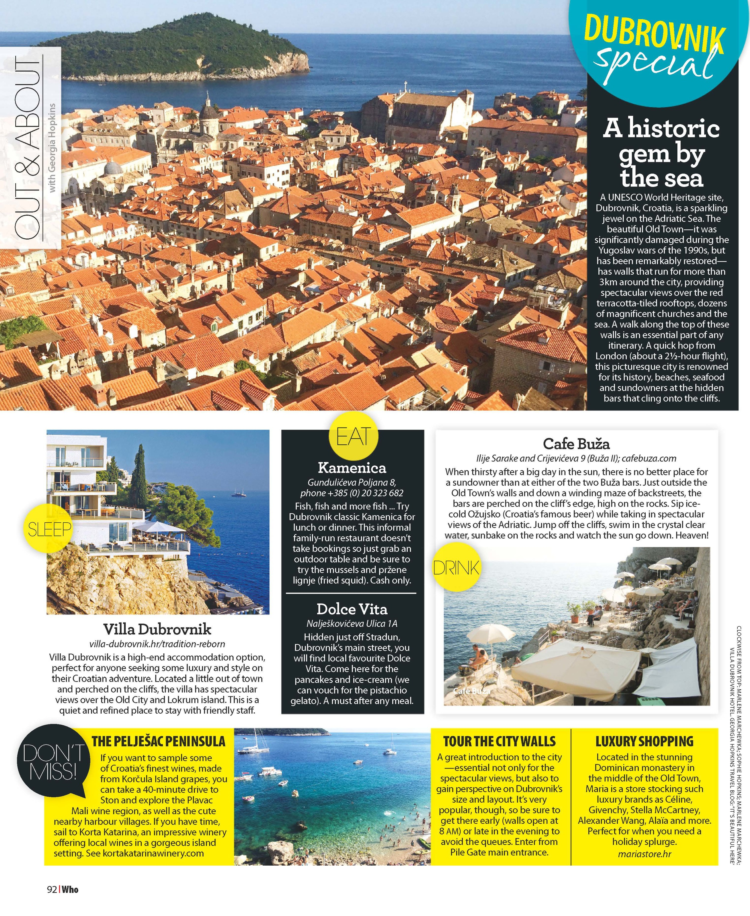 WHO Magazine Australia | Out&About - Dubrovnik | September 2014.