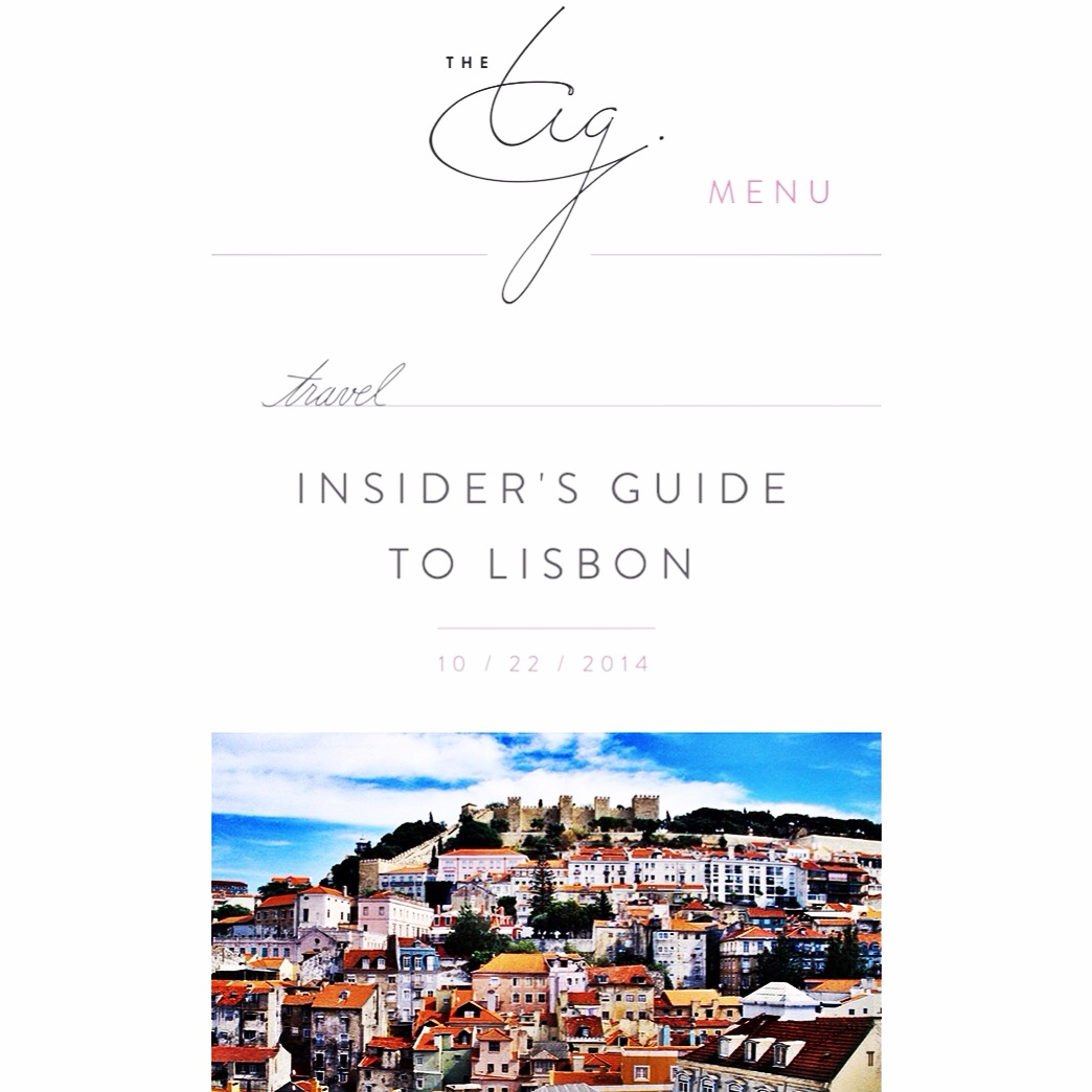 The TIG |  Insider's Guide to Lisbon  | October 2014.
