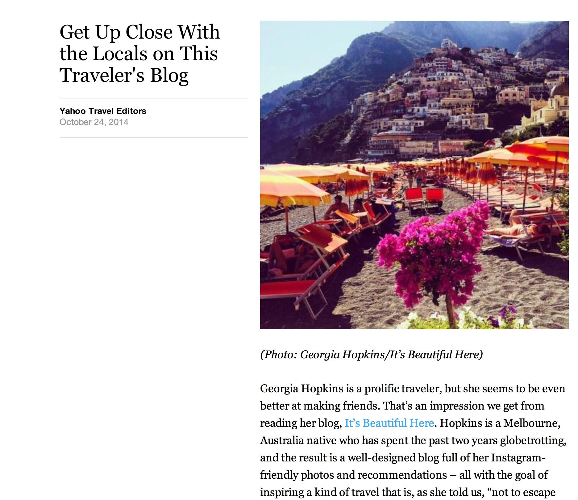 Yahoo Travel  | October 2014.