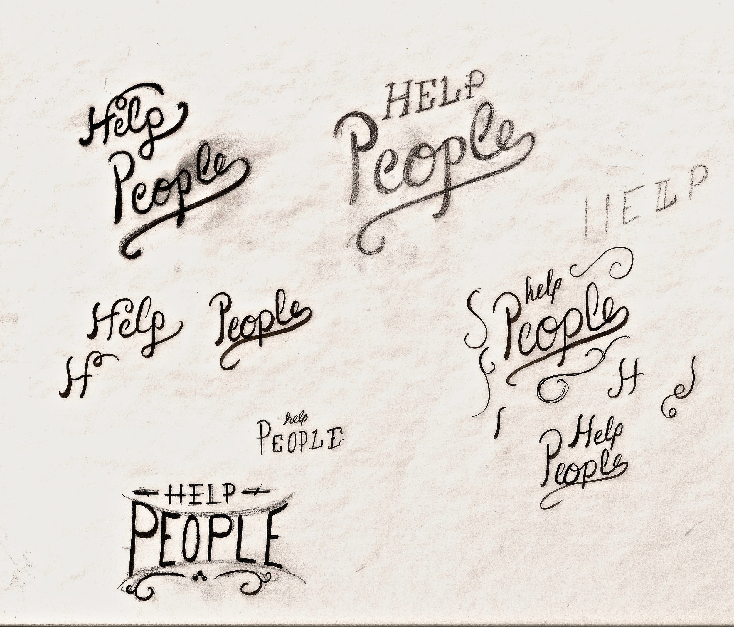 """A recent journal post about why TheWorley Co exists was called """"Help People"""" and this was a bit of the concepting. I'll crank out about 8-15 initial designs to see how the feel is and what I'm hoping to communicate before going in a direction."""
