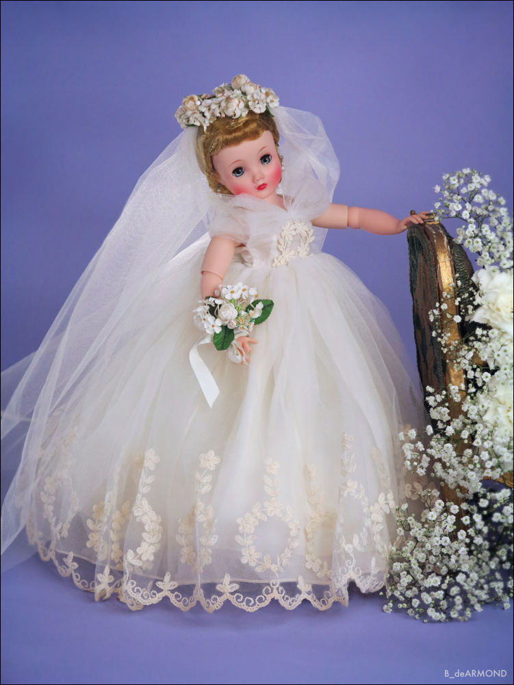 """Elise, in the tradition of the American mid-century fashion doll, at 16 1/2"""", was a slightly smaller version of her 21"""" sister Cissy. Elise also offered a comparatively affordable alternative to the more expensive Cissy."""