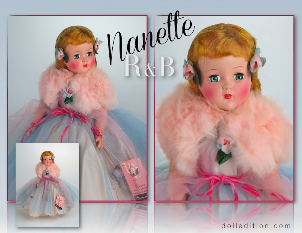 """Circa 1947 R&B 17"""" Nanette - there are similarities to competitor Alexander's finishes, costuming and molds."""