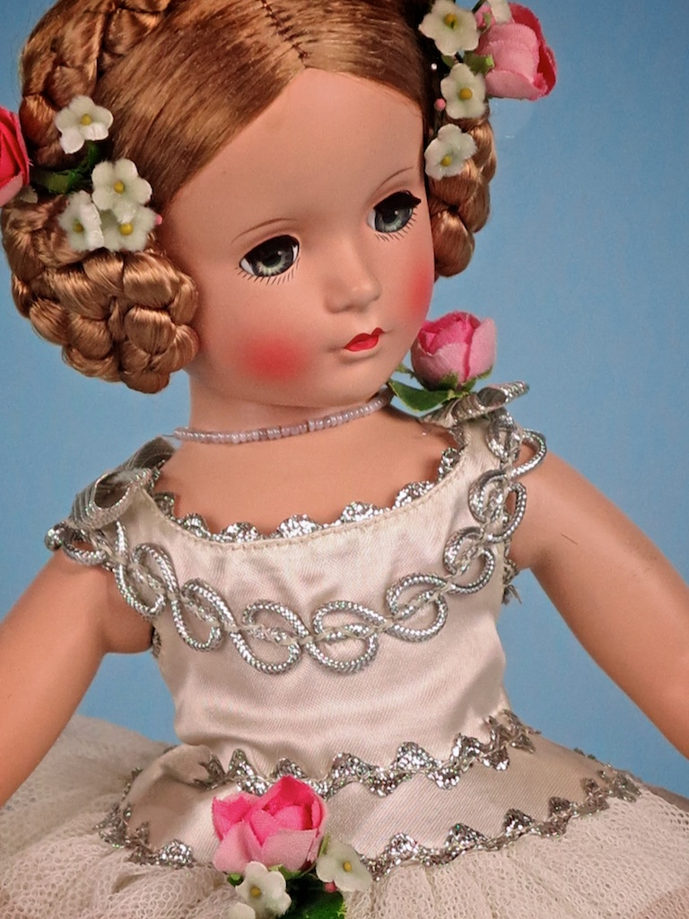 "No, 6. A wonderful example of the very rare 14"" 1948 ""BALLERINA"".  Featured in the 1848 FAO Schwarz toy catalog, the doll is based on the star ballerina of the ""SWAN LAKE"" ballet. ""BALLERINA"" came in two sizes: FAO no. 16-58 ($10.00) for the 14"" doll; and FAO no. 16-70 ($13.95) for the 17"" doll."