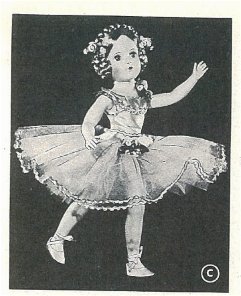 "From the 1948 FAO Schwarz toy catalog, ""BALLERINA"", based on the star ballerina of ""SWAN LAKE"". The catalog describes the doll: ""Here is the graceful star ballerina of the ""SWAN LAKE"" ballet, beautifully dressed in a a dazzling ballet costume trimmed with silver, with mohair wig with braided hair-do."""