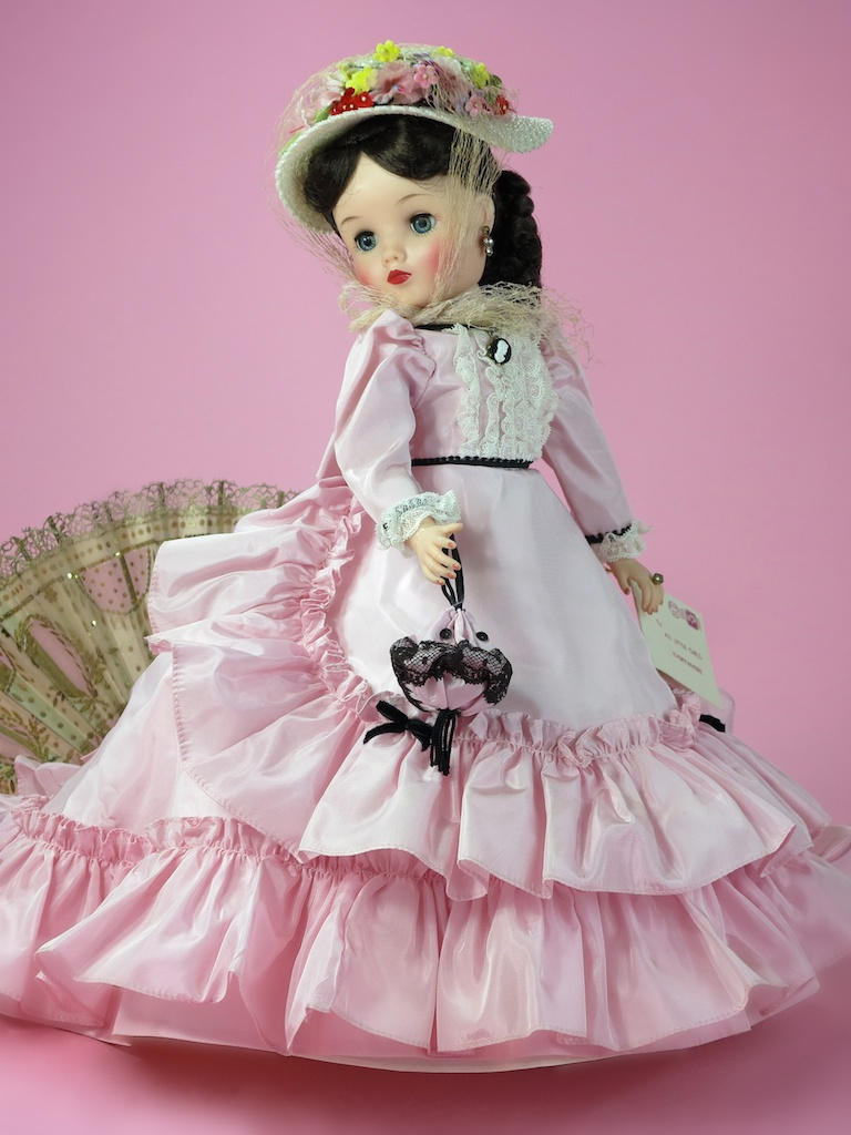 "No. 8. 18"" Elise 1963 RENOIR PORTRAIT No. 1735 - with the 1962 21"" JACQUELINE (Kennedy) removed from production, the Alexander Doll Company needed a fashion doll star for 1963. Elise grew and inch, and was dressed in her most elaborate costuming to date as a series of stunning portrait dolls to become queen of the 1963 catalog."
