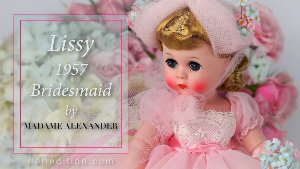 """Lissy 1957 Bridesmaid No. 1161 - 12"""". Ankle length gown of sheer nylon with inserts of wide val lace & floral nosegay."""