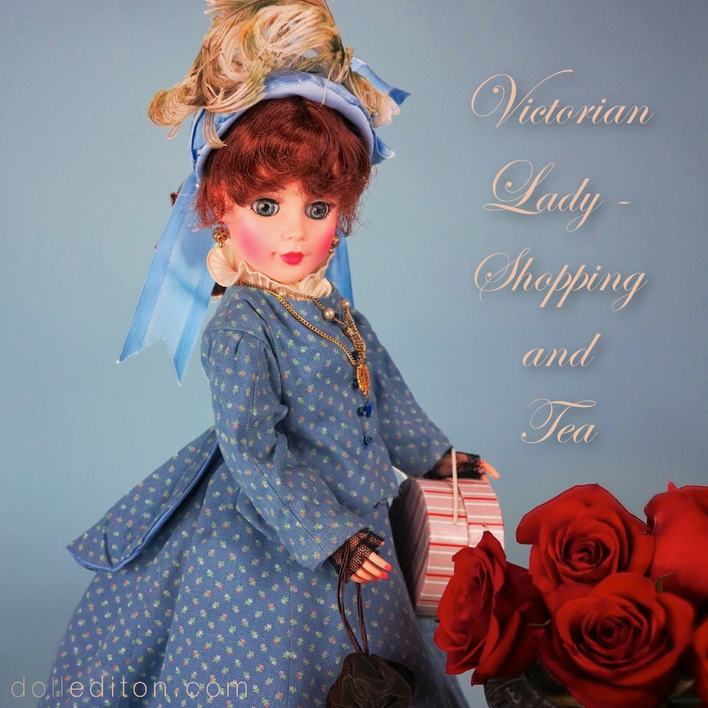 "Our Victorian Lady, a ""Jacqueline"" by the  Alexander Doll Company , models her Victorian day dress of printed cotton and vintage lace, created by Hollywood costume designer, and Alzheimer's patient,  Richard Bostard ."
