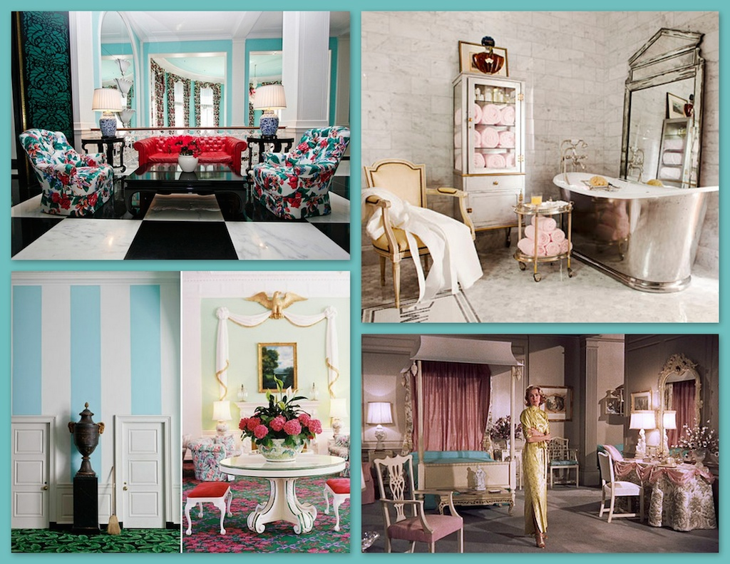 "Above, clockwise: Dorothy Draper was the leading lady of commercial interior design using the Hollywood Regency style for her dramatic and color filled public spaces. Antique furniture along with modern finishes and mirrored furniture pieces were a few of the trademarks of this look. Over scaled patterns and design elements were typical - often with energetic color schemes and patterns. One of the most popular architectural features interpreted many ways was the french mansard roof - used with the canopy bed in the Hollywood film set above for  ""High Society""."