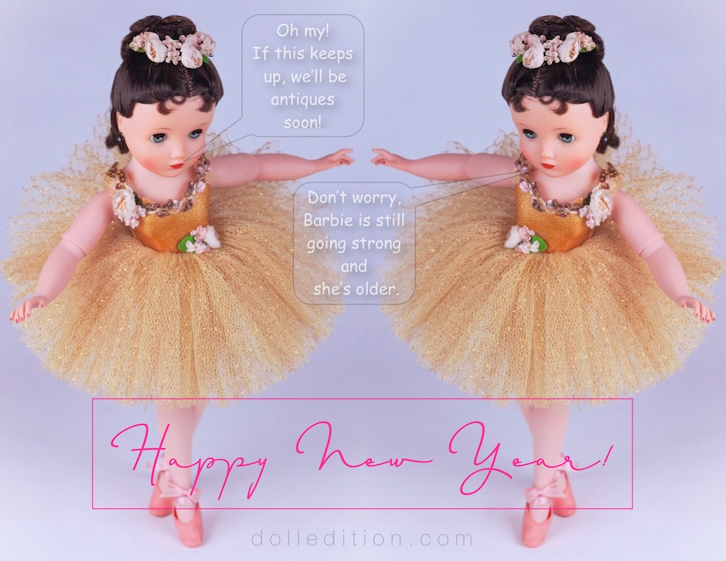 Celebrating the New Yearwith  dolledition.com  is a pas de deux with Elise in gold - No. 1835 from 1961.
