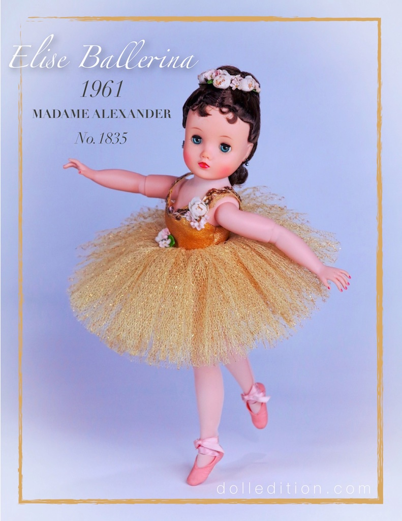 "Elise, 16-1/2"" hard plastic with posable vinyl arms and adjustable legs and ankles - quite a bit of engineering for one doll! Barbie, just introduced in 1959, was making it challenging for the other doll manufactures to compete. These wonderful dolls of the golden era of the Alexander Doll Company were not in demand like they were in the 1950s era of dolls."