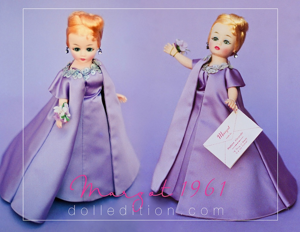 Margot 1961 prototype - similar to No. 920, lavender satin with an evening coat and wrist corsage.