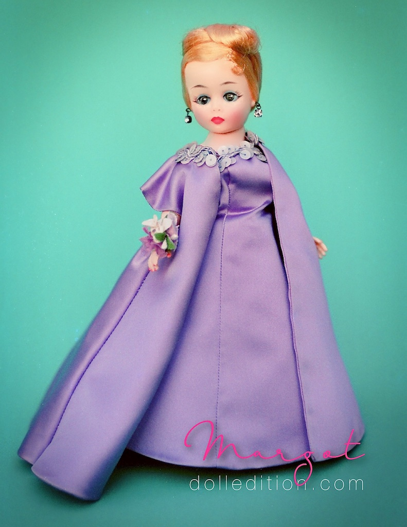 My Mom collected antique German and French dolls. She did collect a few very interesting Alexanders. This is a 1961 Margot prototype that was once in her collection. I had the doll in the 1990s, and entered her into compettion at the 1989 Los Angeles MADC Convention.