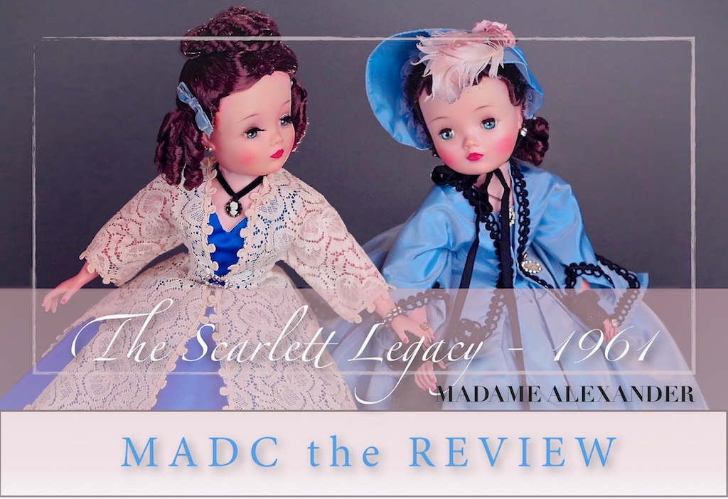 For the Madame Alexander Doll Club winter issue - The Scarlett Legacy - 1961. Alexander designs for the 1961 Gown With the Wind-25 year anniversary featuring Scarlette and Melanie.