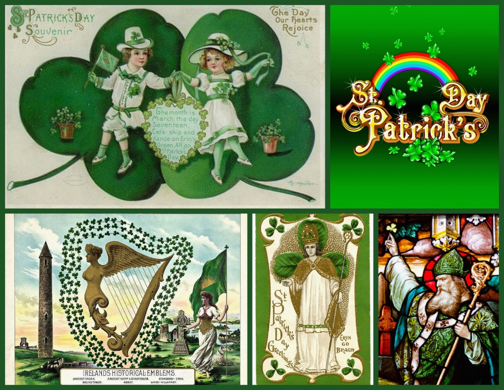 """Top left: A traditional vintage  St. Patrick's Day  greeting card. Top right:  St. Patrick's Day  rainbow. Bottom Left:Irish nationalsymbols. Bottom Middle:  Erin Go Bragh : """"Ireland Forever"""". Bottom Right: C. 5th Century -  Saint Patrick . March 17th is the date of his death."""