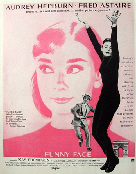 Audrey Hepburn, previously a struggling ballerina, helped Hubert de Givenchytranslate many elements of ballet into his own designs. While Givenchy custom designed all of Hepburn's Paris wardrobe for the movie, Edith Head, darling of Hollywood studio costume design,got the Oscar. Hepburn got Edith Headreplaced in favor of Givenchy after the opening costumes were already in production — one of fashions most famous collaboration of muse and designer was born! Jacqueline Kennedy was a huge fan of Audrey Hepburn and Givenchy, and wore his clothes — even having her signature designer Oleg Cassini copy line for line some of Givenchy's designs.