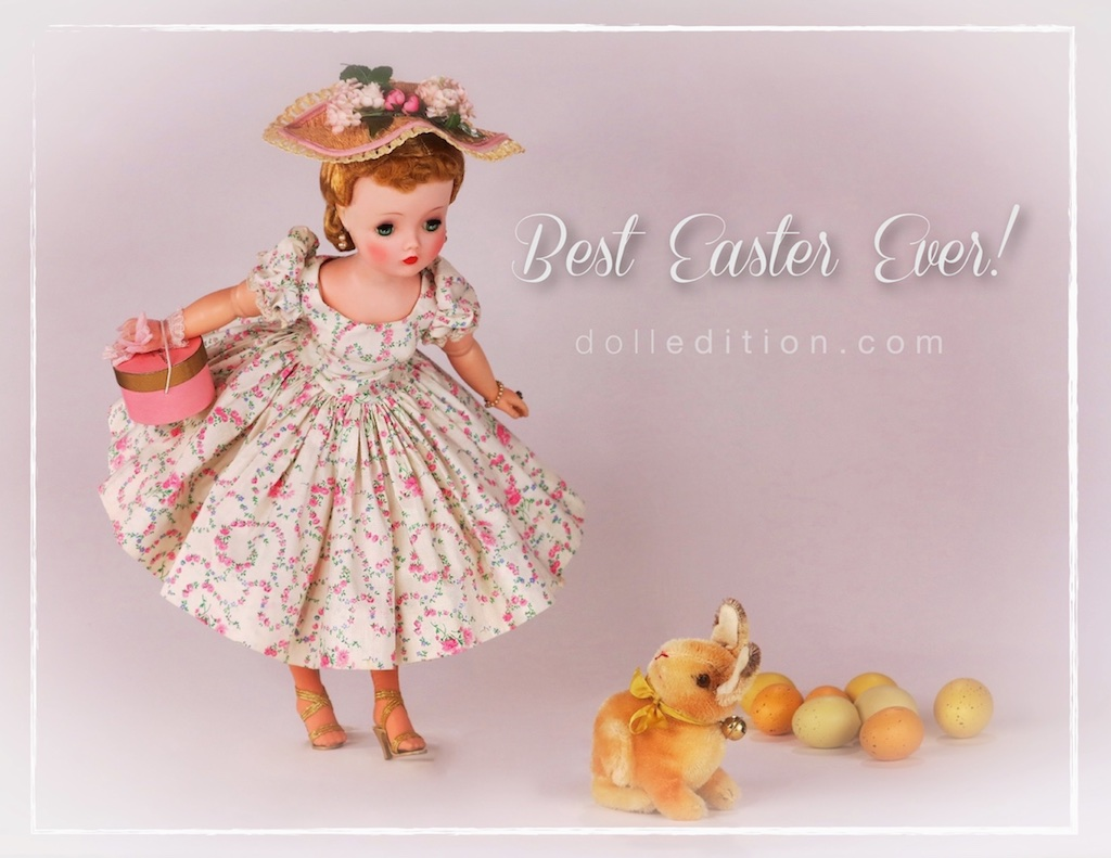 Cissy - Easter shopping in a very rare 1955 dropped waist cotton garland print dress and coordinating hat with a 1950s Steiff bunny. After the element of surprise settles, and they've checked each other out - Easter is here and there are things to do.