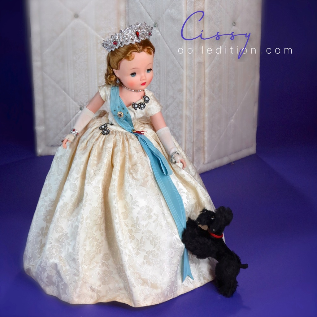 """Cissy No. 2177 - a transitional period of her production with the newer one piece arms first introduced in some of the 21"""" 1959 fashion dolls (Shari Lewis). Thegown for the Cissy Queen changed tobell shaped with a new heavy net slip design for support  ."""