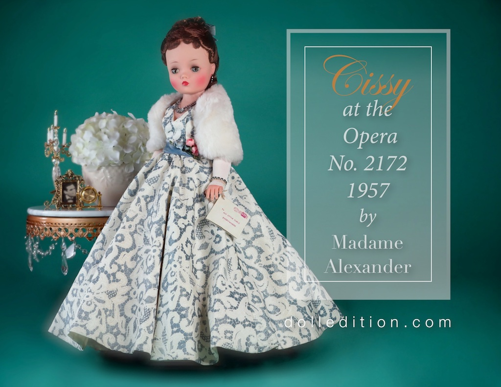 "Cissy goes to the Opera in a stunning lace over heavy faille gown, velvet sash with a corsage of roses at the waist. Her Orlon ""ermine"" stole is lined with white satin."