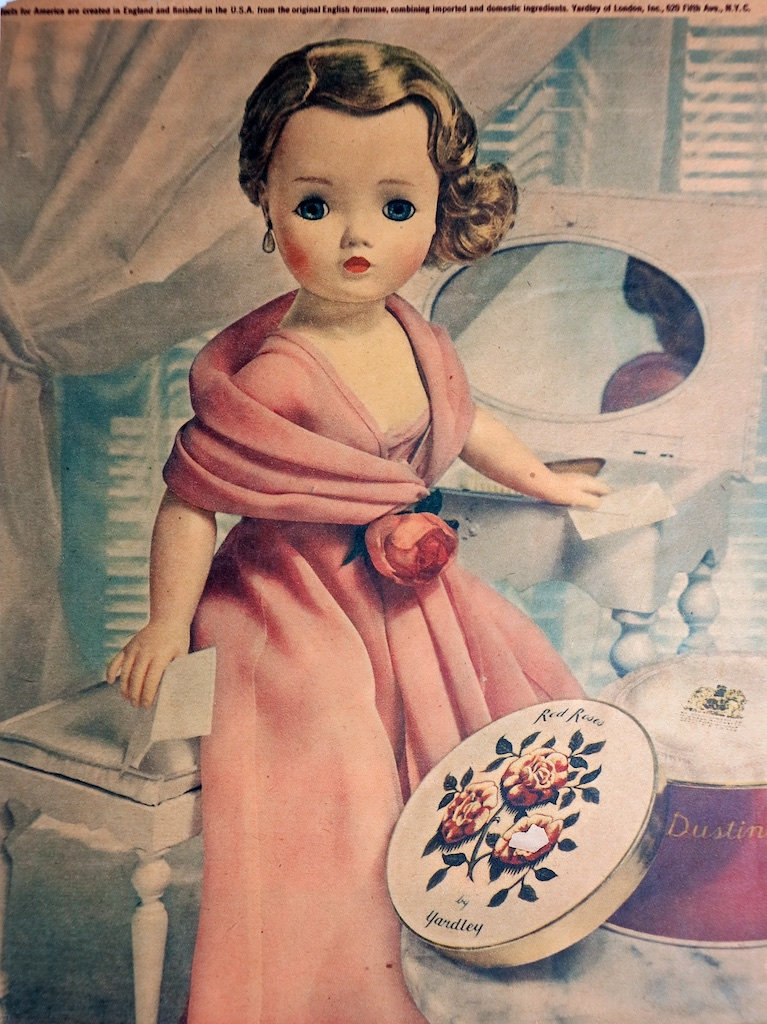 One of a handful of ads that borrowed lightly form existing Cissy fashion - this is quite a statement for both the doll and Yardley.