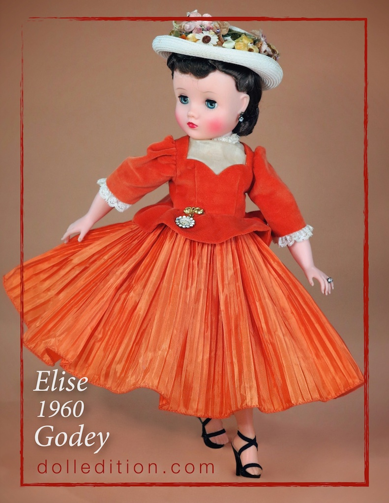 Perhaps meant as a companion to the 1960 Cissy Godey Girl, the Godey Elise shares the same vibrant colors and pleating.