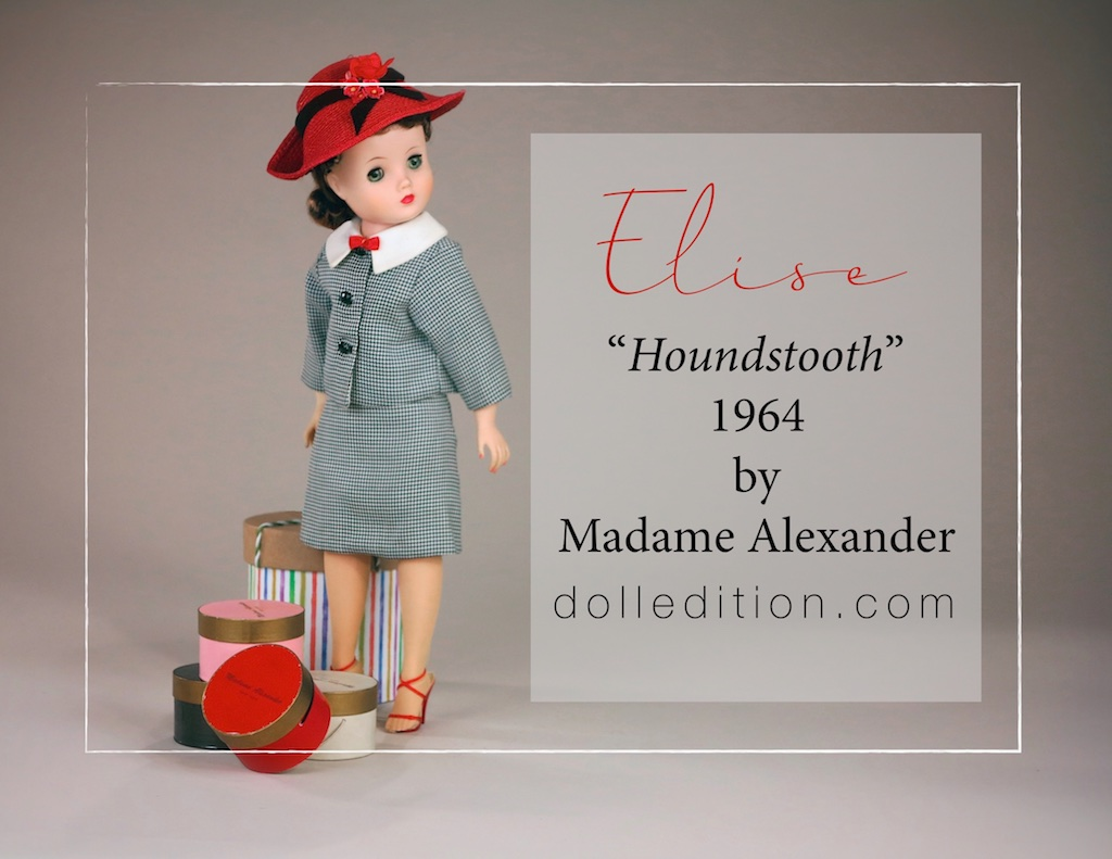 Elise wears her very trendy 1964 houndstooth suit   with the contrasting large white pique cotton collar with an accent of lipstick red velvet bow, heels and coordinating red straw hat  — very much à la Geoffrey Beene.