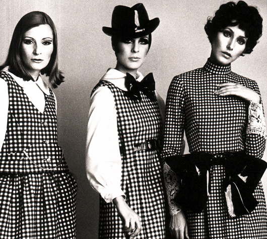 Geoffrey Beene - featuring some of his mid-1960s design using houndstooth fabrics.