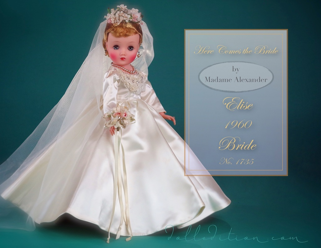 "Elise 16 1/2"" Bride No. 1735 mint in box from 1960 by Madame Alexander... Cissy of this year would also have a variation of this bride."