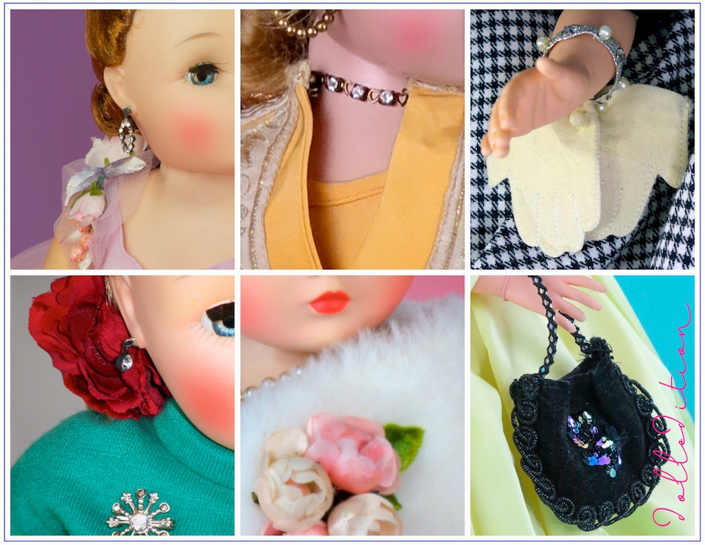 The jewelry, floral and accessary accents for Cissy are varied and wonderful — if not impractical for a play doll. Some of these items got lost the first half hour the doll came out of the box for the first time. They are now some of the most elusive items in collecting Cissy.