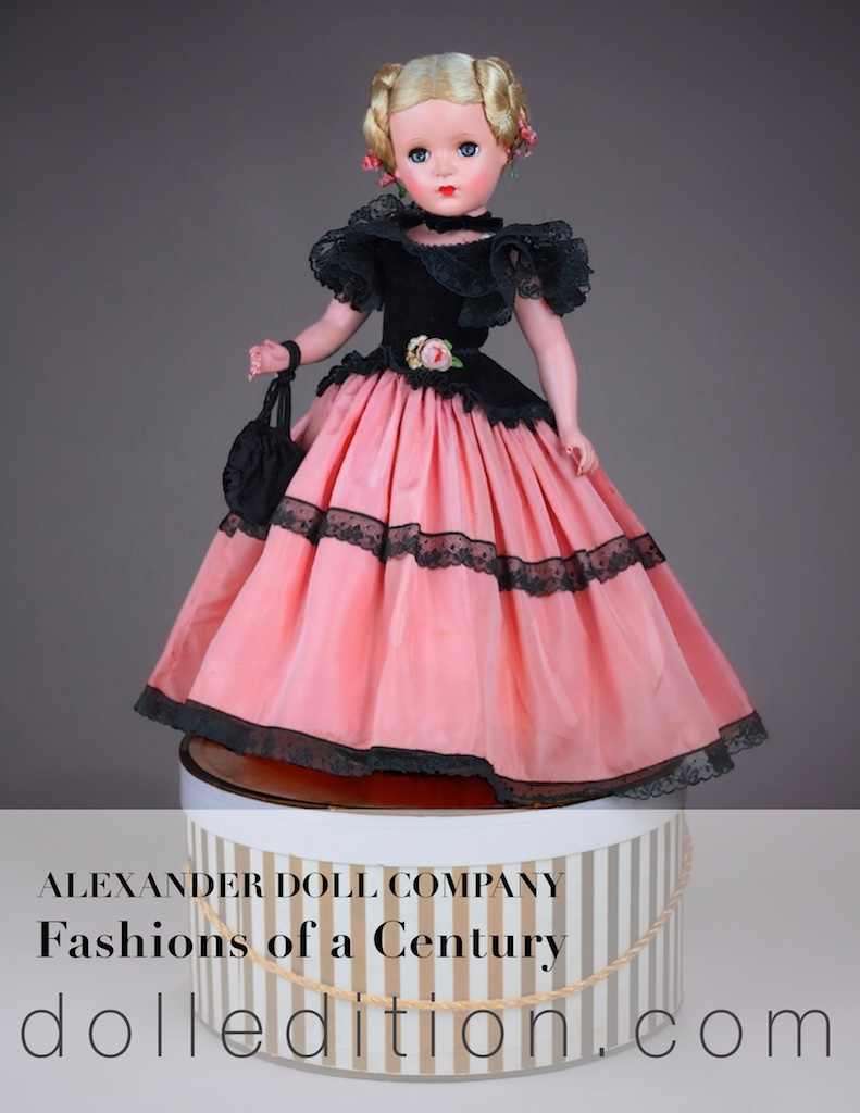 Fashions of a Century - 18 inch Lady, part of a nine doll series from 1954. These are among the rarest of Madame Alexander dolls. In Godey styled costuming, dressed in peach taffeta, black lace and velvet, the doll has a mesmerizing presence. One of her features is her elaborate coiled hairstyle. The reticule is not original to the doll.