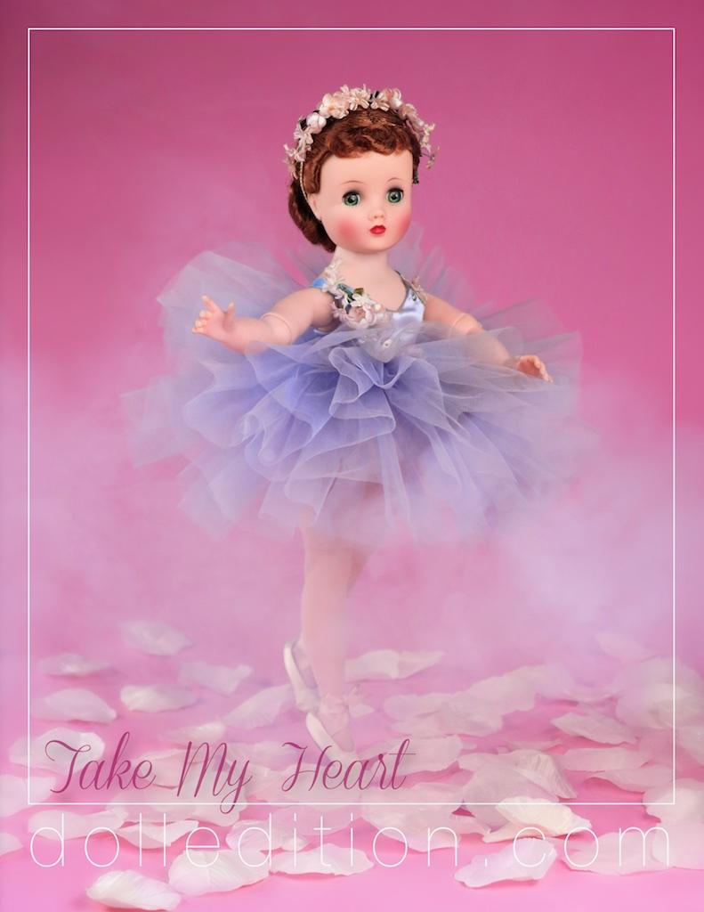 Elise 1957 rare lavender Ballerina No. 1636 - dancing into a Valentine moment.