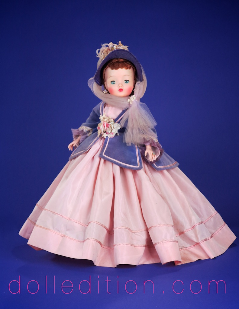 Bouffant gown of pink taffeta with an orchid velvet jacket with embroidery and silk braid. Matching flower trimmed straw hat with billowing tulle. A beautiful example of Cissy in her final phase of 1960 - 1962 as a portrait doll.