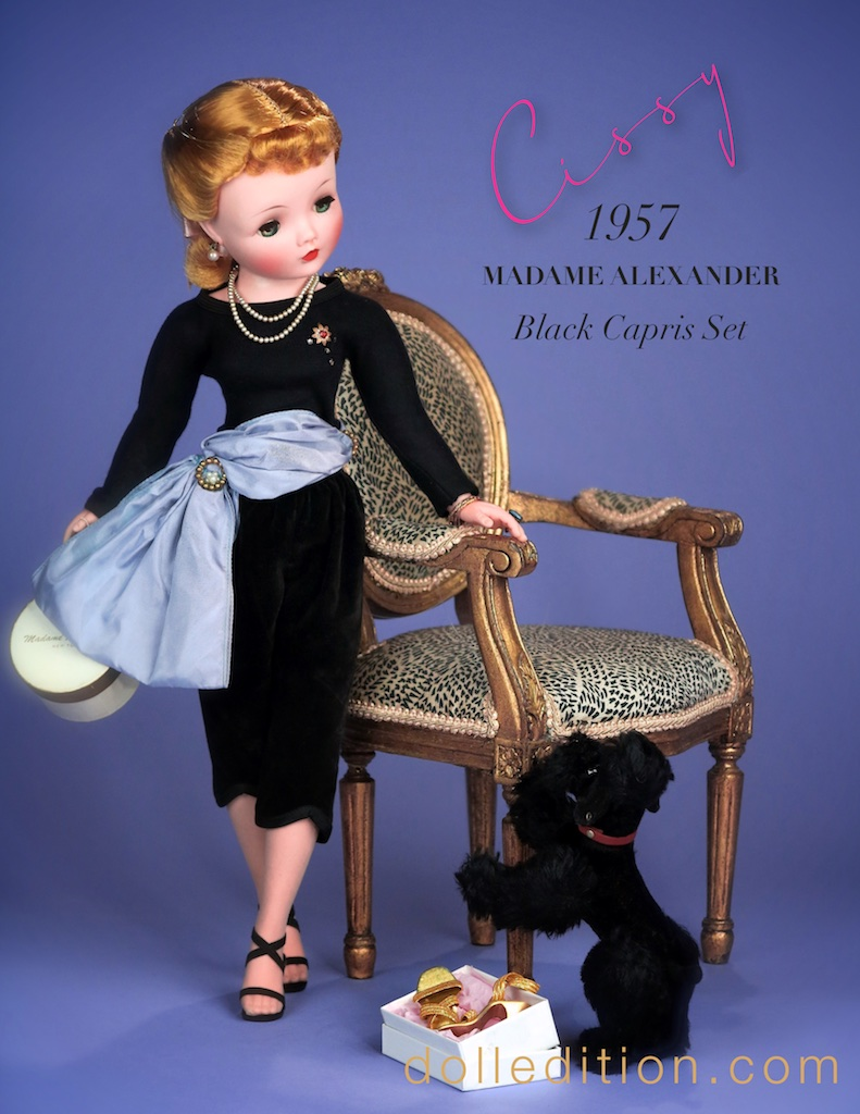 "Cissy appears here on dolledition with her black French poodle ""Mon'Amie"". Mid century America was obsessed with all things French... clothing, as a movie theme, travel destination, high end dining, and Brigette Bardot! The French poodle became the ultimate accessory for many a fashionista of the era. The poodle motif appeared on full circle skirts, fabric patterns, wall paper, lunch boxes, nicknacks, perfume bottles and stuffed toys."
