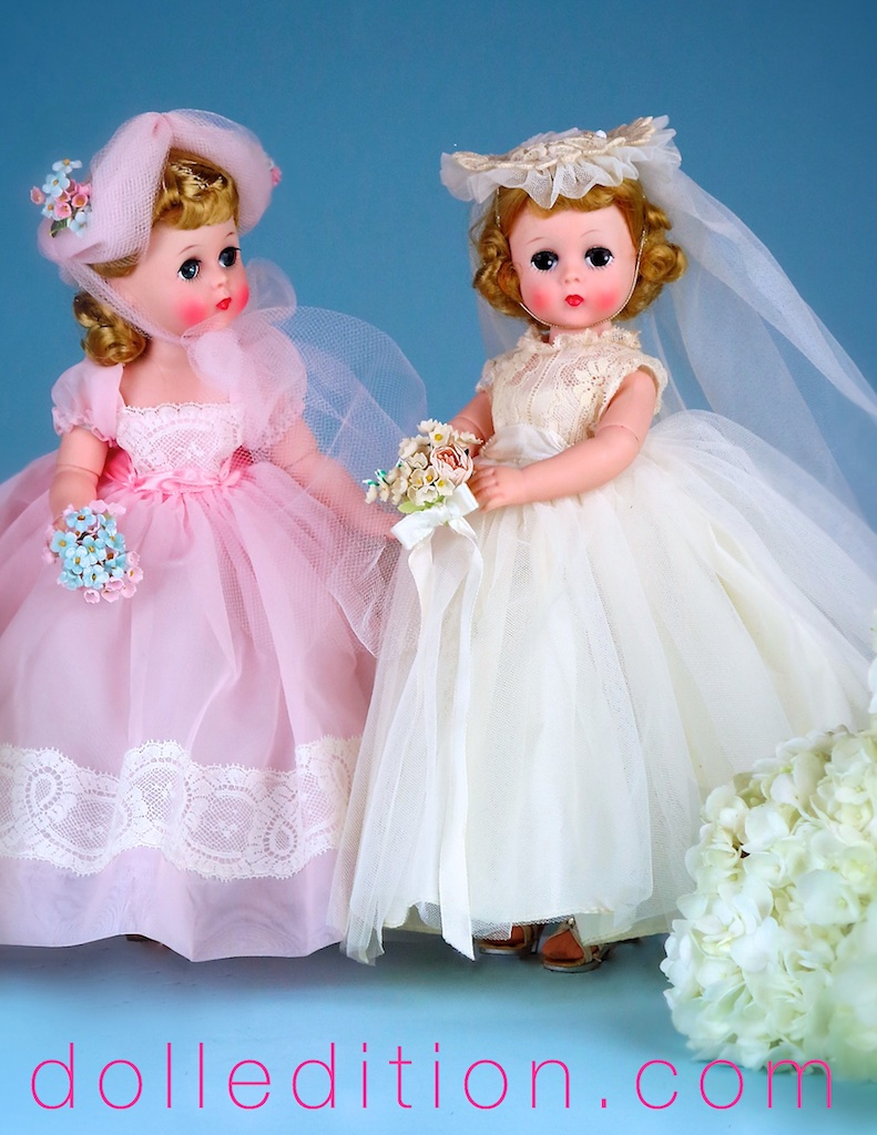 "Left is Lissy 12"" 1957 Bridesmaid No. 1161 in an ankle length gown of nylon with inserts of wide val lace. Her hat of tulle is tied with a wide tulle sash and she carries a nosegay of flowers ."