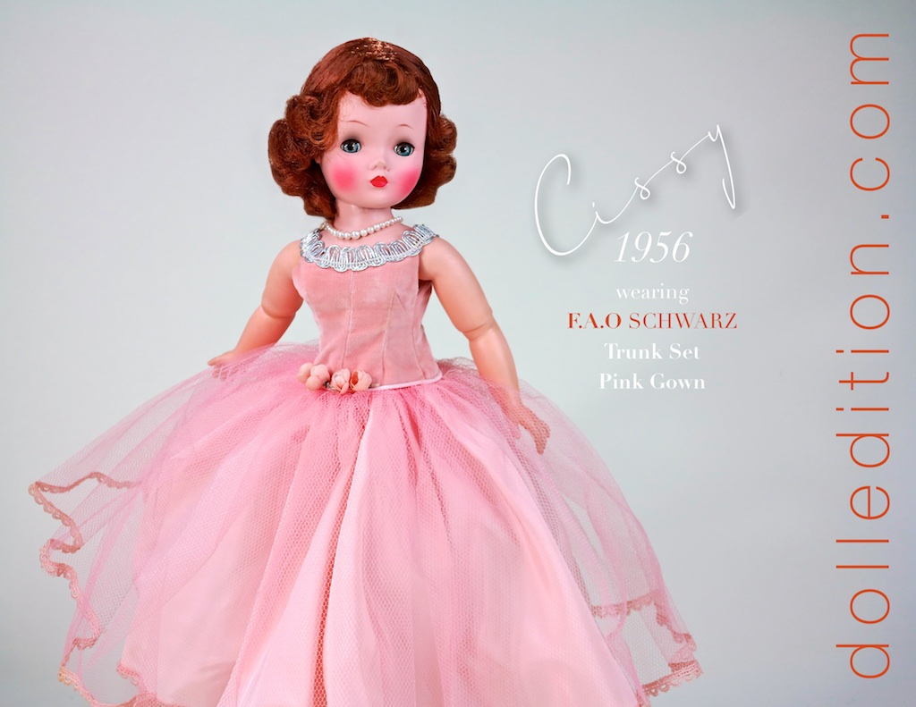 The doll is a 1956 Cissy. She is a beautiful example of the painted finish of the earlier years of 1955 and 1956. She also has eye shadow, which was not always present on Cissy. She's wearing a pink gown that is typical if the gowns added by  FAO   Schwarz  for the trunk sets they put together for Cissy.