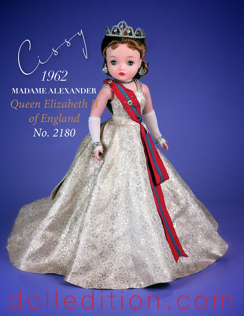 "Cissy 1962 Queen Queen Elizabeth II of England - wearing a silver brocade gown. There were several variations of the brocade pattern used for this doll. This same pattern was also use for one of the day suits that the 1961 Jacqueline came in, and for the ""Sleeping Beauty"" version of this same queen."