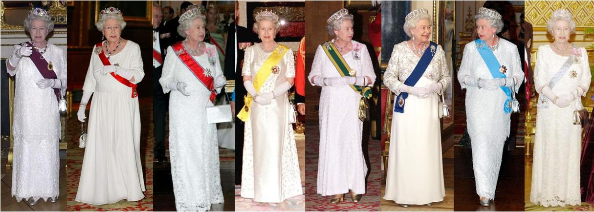 Queen Elizabeth wears a virtual rainbow of sashes with orders of different significants,from different countries and as prescribed by royal etiquette,on different shoulders.